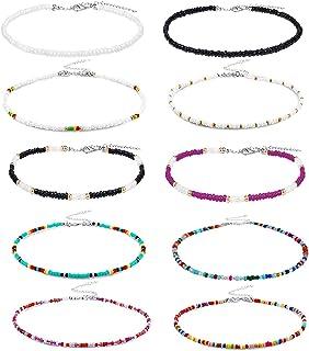 10 قطع من الخرز قلادة قلادة، K&Q صغيرة خرز قلادة بوهو ملونة قلادة سلسلة مجوهرات للنساء والفتيات، قابلة للتعديل 12-16 بوصة