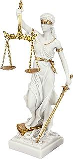 Design Toscano Thémis Dame Aveugle de la Justice Statue Cadeau pour Avocat, 33 cm, résine de marbre, blanc