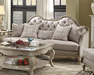 ACME Chelmsford Beige Fabric and Antique Taupe Sofa with 5 Pillows