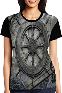 Women`s T Shirts,Retro Navigation Equipment Illustration with Steering Wheel Charts Anchor Chains
