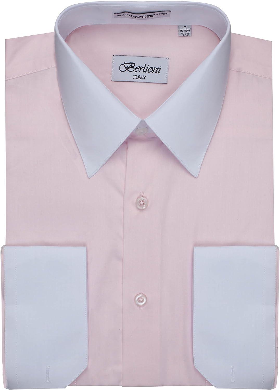 Men's Pink Two Tone Dress Shirt w/ Convertible Cuffs - Large 32 /33