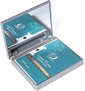 Makeup Mirror with Facial Oil Blotting Paper Sheets - Bamboo Charcoal 100 Counts, Silver Compact Folding Cosmetic Travel Mirror