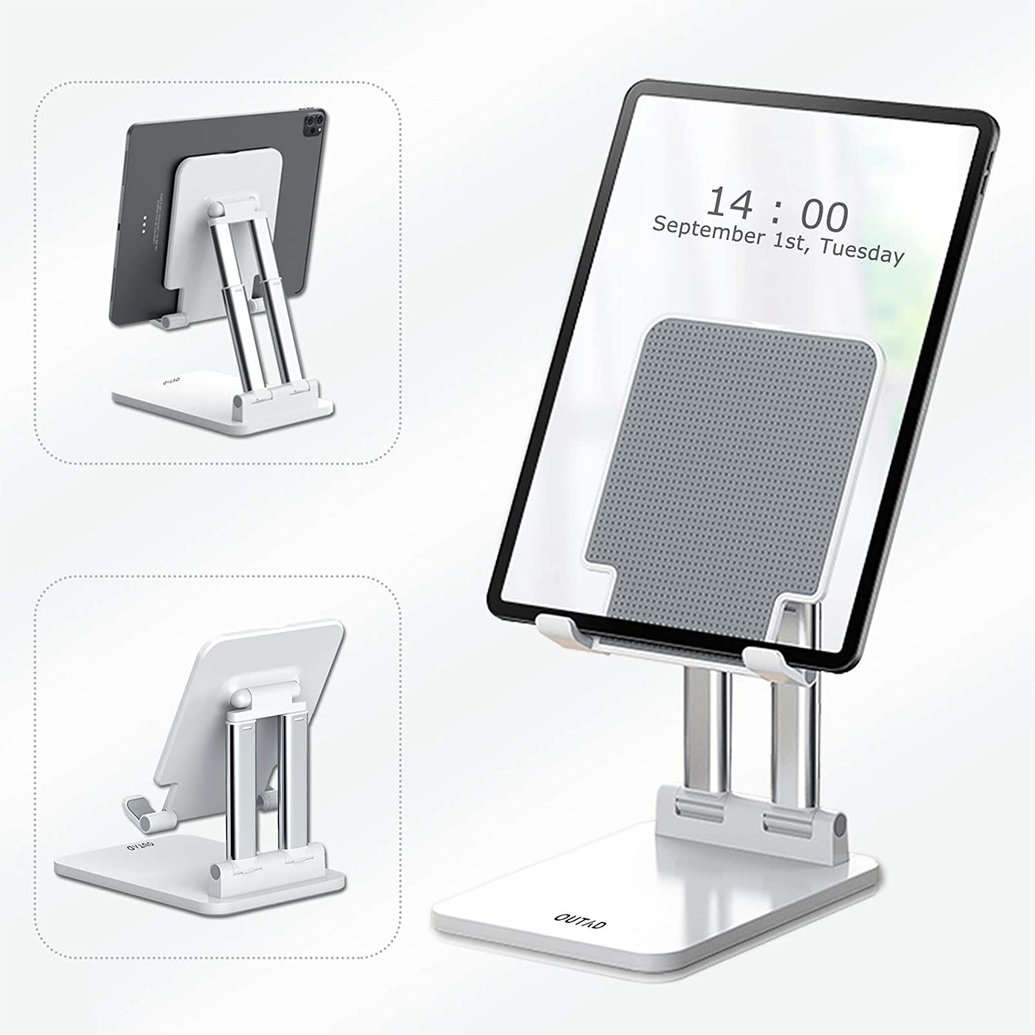OUTAD Foldable Tablet Stand, Adjustable Extendable Collapsible Desktop Holder Dock Compatible with iPad Pro 12.9/11/10.5 inch, Air Mini 4 3 2, Kindle, Samsung Galaxy Tab, Surface Pro, E-Reader, White