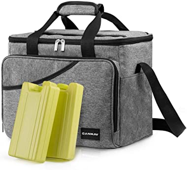 CANWAY Cooler Bag 40-Can Large, Insulated Soft Sided Cooler Bag with 2 Ice Packs for Outdoor Travel Hiking Beach Picnic BBQ P