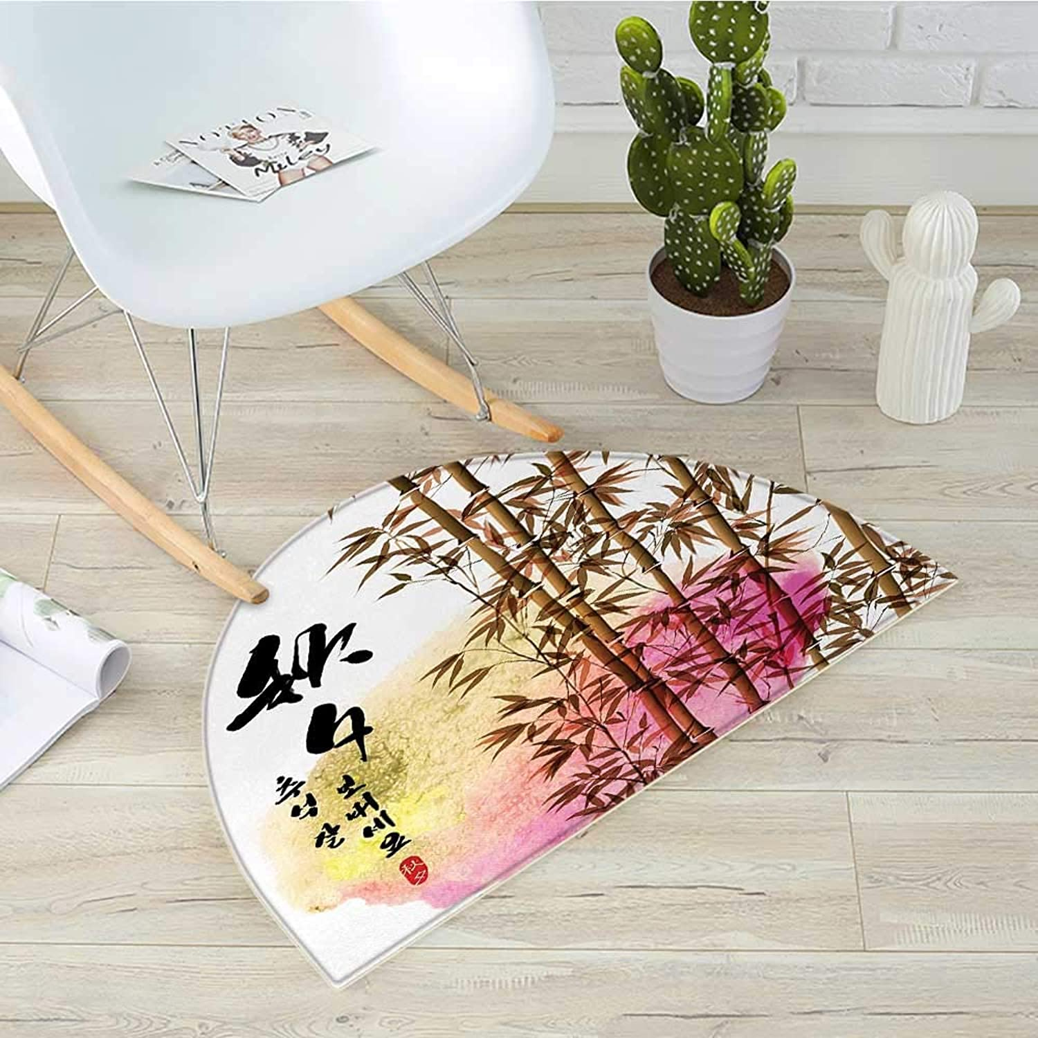 Bamboo Half Round Door mats Bamboo Painting with Japanese Words in Mid Autumn Festival Giving Day Harvest Artsy Work Bathroom Mat H 39.3  xD 59  Multi