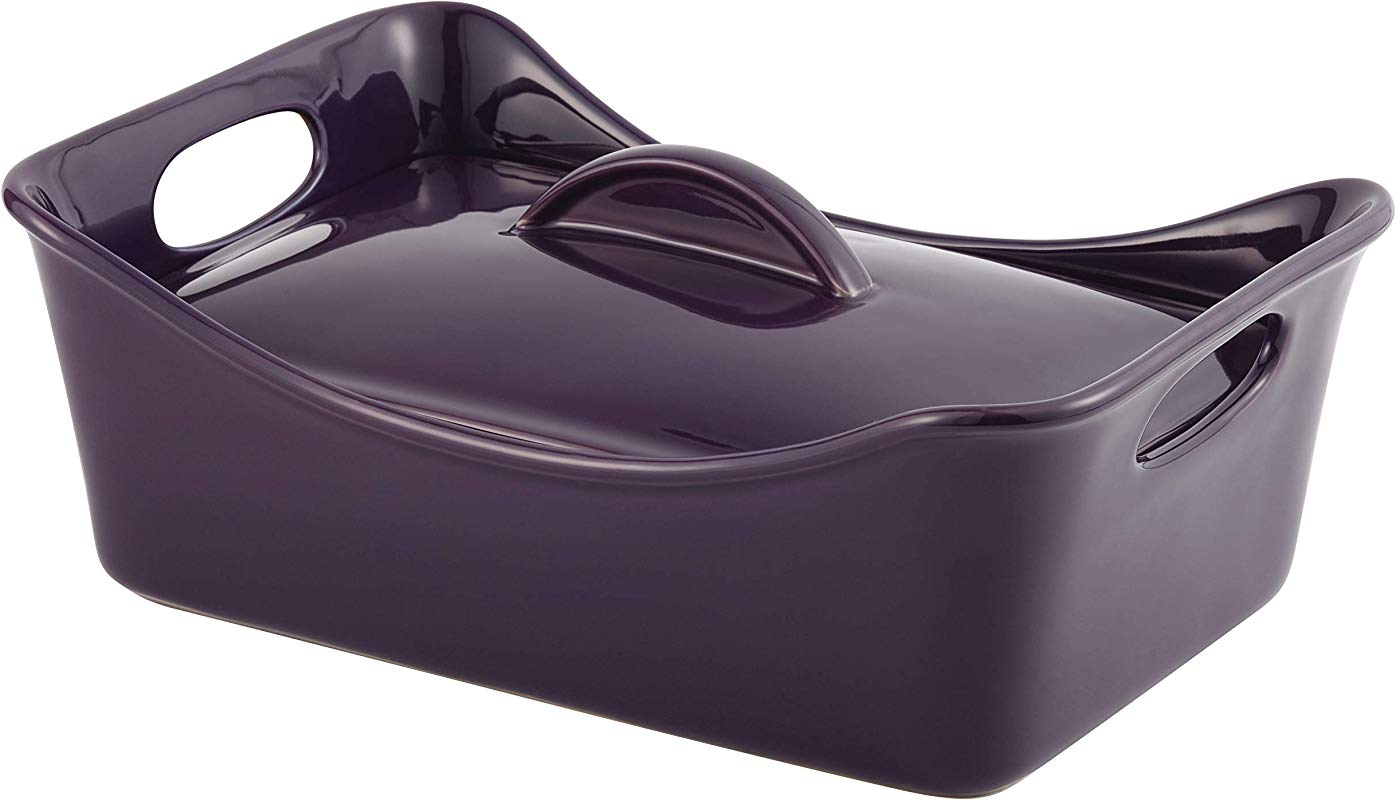 Rachael Ray Stoneware 3 5 Quart Rectangular Covered Casserole Baking Dish Purple