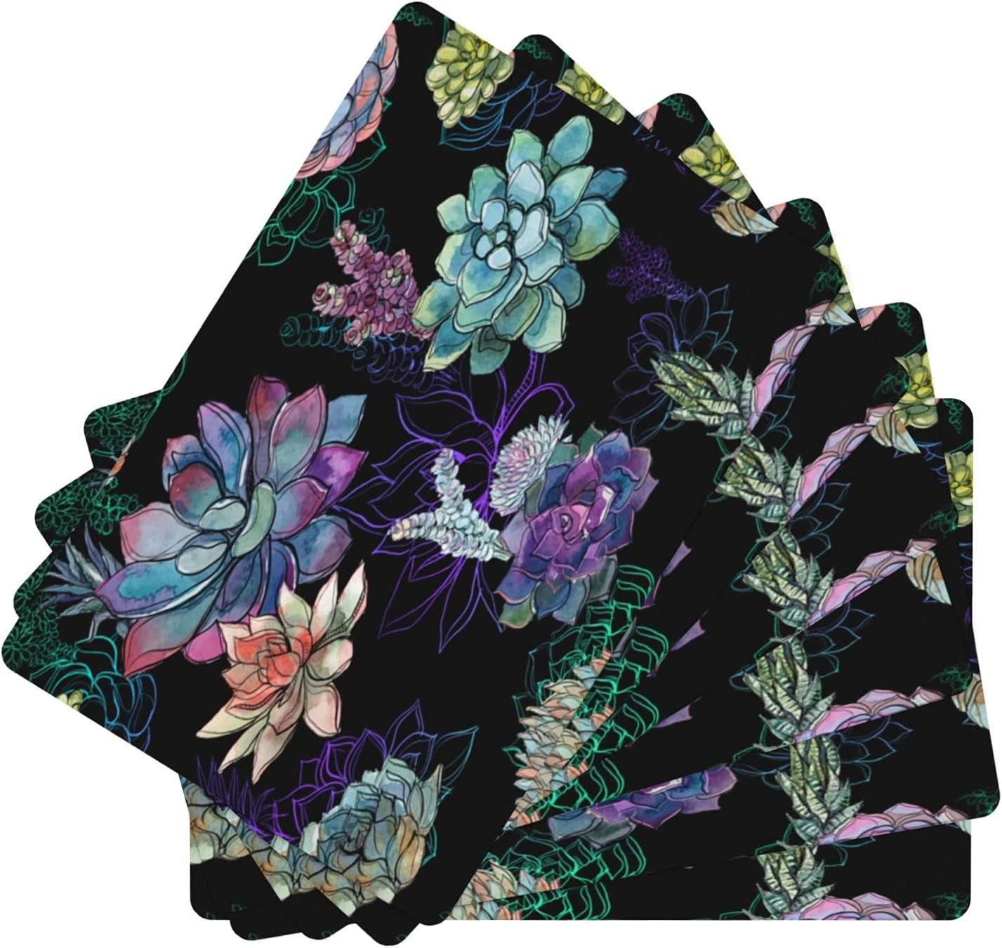 Succulents Low price Leather Placemat Durable Tab Kitchen Special sale item for