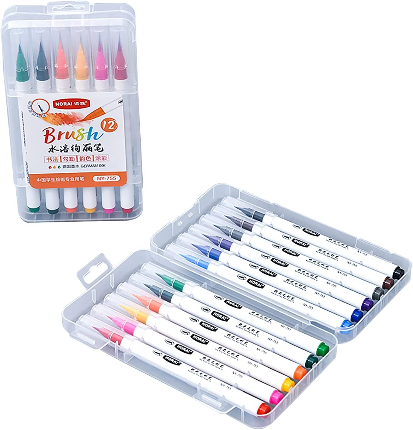 Aibesy Watercolor Real Brush Pens with latest Tips 12 Flexible Vi Nylon High quality new