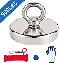 """Fishing Magnet Kit, 900lbs Pulling Force Super Strong Neodymium Fishing Magnets with Rope & Gloves, Rare Earth Large Round Magnet with Eyebolt for Magnetic Fishing, River, Salvage, 3.54"""" Diameter"""