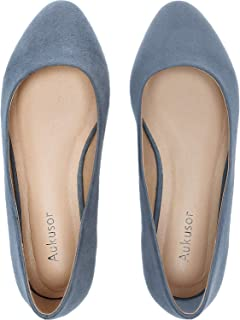 Women's Wide Width Flat Shoes - Comfortable Classic Pointy Toe Slip On Ballet Flat