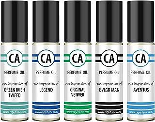CA Perfume Niche Men Set Impression of (Aventus + Green Irish Tweed + Original Vetiver + Legend + Bvl. Man) Fragrance Body Oils Essential Sample Travel Size Roll-On (0.3 Fl Oz/10 ml) x5