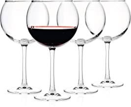 Luxbe - Crystal Wine Balloon Glasses 20-ounce, Set of 4 - Large Handcrafted Red White Wines Glass - Lead Free Crystal Glass - Professional Wine Tasting - Burgundy - Pinot Noir - Bordeaux - 600ml