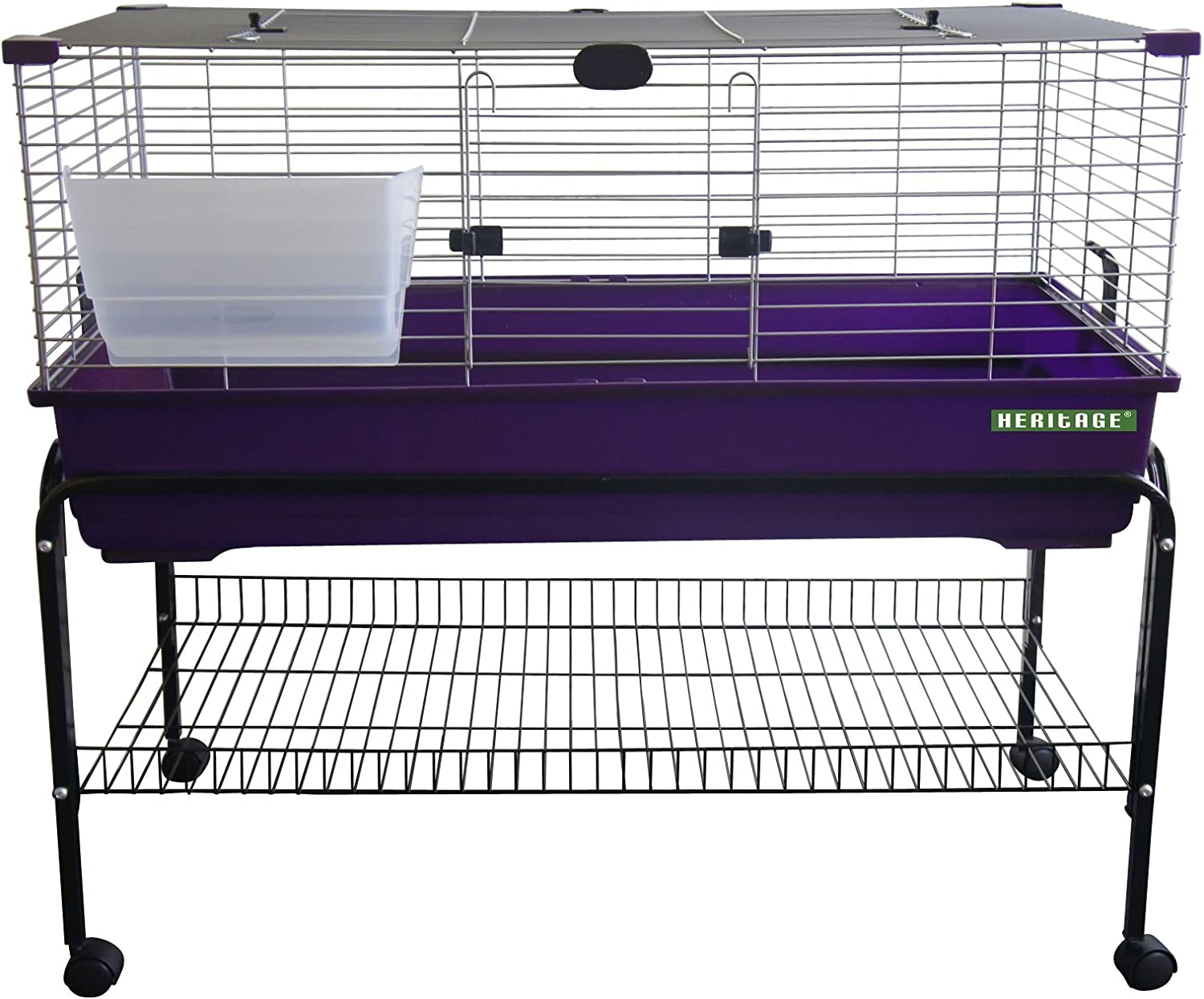 Heritage Rabbit Cage With Stand Package Deal  80cm or 100cm Indoor Bunny Cages & Stand, With Shelf & Wheels (80cm Purple Rabbit Cage with Stand Package)