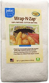 Pellon, Natural Wrap-N-Zap Cotton Quilt Batting, 45 by 36-Inch, 1 Pack