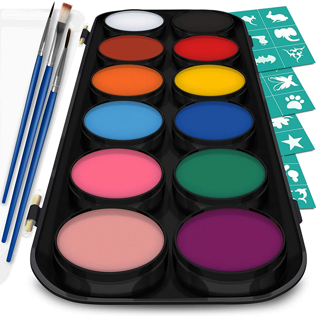 Face and Body Paint Kit for Kids – Set of 12 Classic Colors with Flat and Detail Painting Brushes – Comes w/ 30 Design Stencils – Non Toxic, Water Based and FDA Compliant