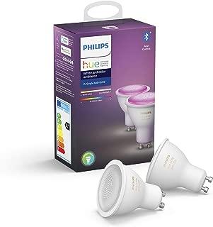 Philips Hue White and Color Ambiance Pack 2 bombillas LED inteligentes GU10, luz blanca y de colores, compatible con Bluetooth y Zigbee (Puente Hue opcional), funciona con Alexa y Google Home