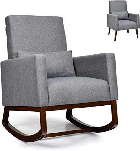 2021 Giantex Rocking Chair Fabric High Back discount Armchair with Waist Pillow,Wooden Tapered lowest & Rocking Dual Legs Multifunctional Upholstered Accent Chair for Nursery, Living Room, Bedroom Rocker(1, Gray) sale