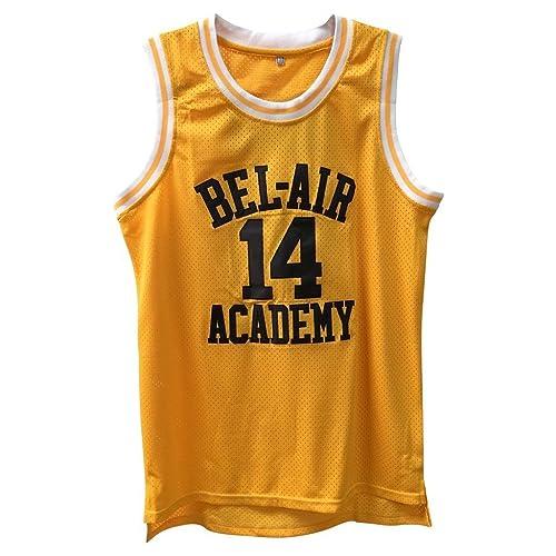 1e7598dab655 Fresh Prince Retro Basketball Jersey Will Smith Bel-Air Basketball Shirts   14 Yellow Black