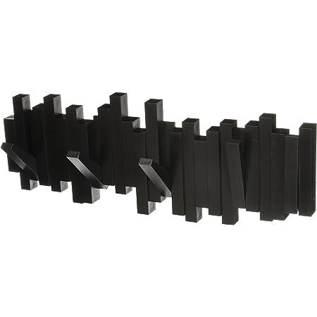 Umbra 318211-040 Sticks Multi Rack – Modern, Unique, Space-Saving Hanger with 5 Flip-Down Hooks for Hanging Coats, Scarfs, Purses and More, Black