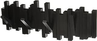 Umbra Sticks Multi Rack – Modern, Unique, Space-Saving Hanger with 5 Flip-Down Hooks for Hanging Coats, Scarfs, Purses and More, Black