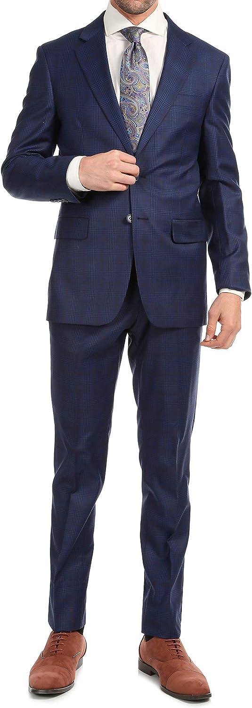 Ferrecci Men's Suits - Wool Men Suits Slim Fit Notch Lapel Yves 2 Piece Suit Plaid Dress Pants