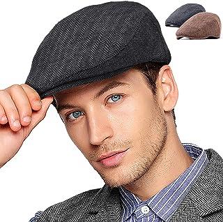 2Pack Adjustable Newsboy Hats for Men Flat Cap Mens Irish Cabbie Gatsby Tweed Ivy