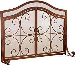 Plow & Hearth Large Crest Fireplace Screen with Doors, Solid Wrought Iron Frame with Metal Mesh, Decorative Scroll Design, Free Standing Spark Guard 44 W x 33 H x 13 D, Bronze Finish