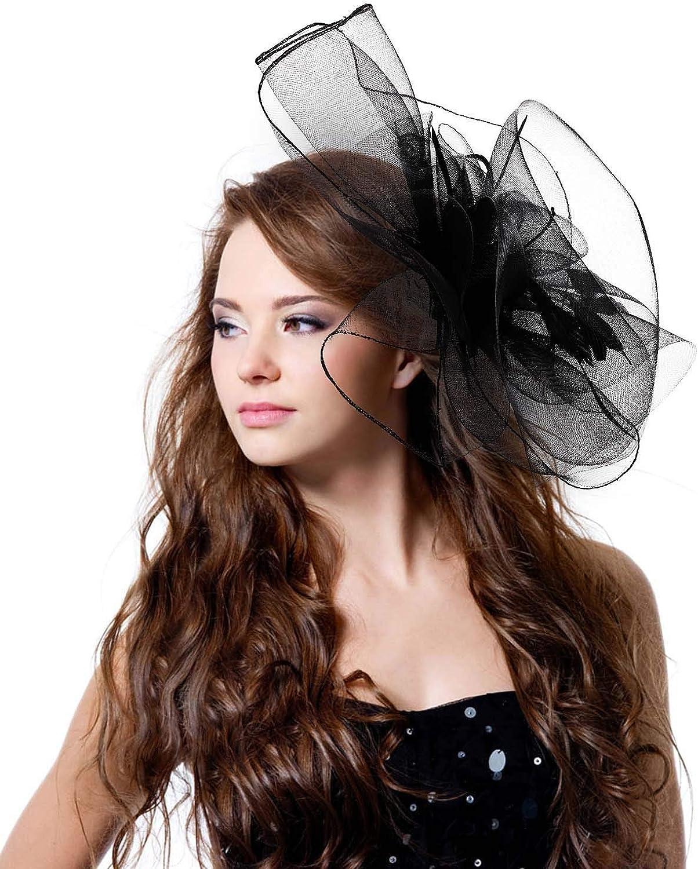 MioCloth Women Girl Fascinator Hair Clip Hairpin Hat Cocktail Wedding Tea Party Derby Hat Black
