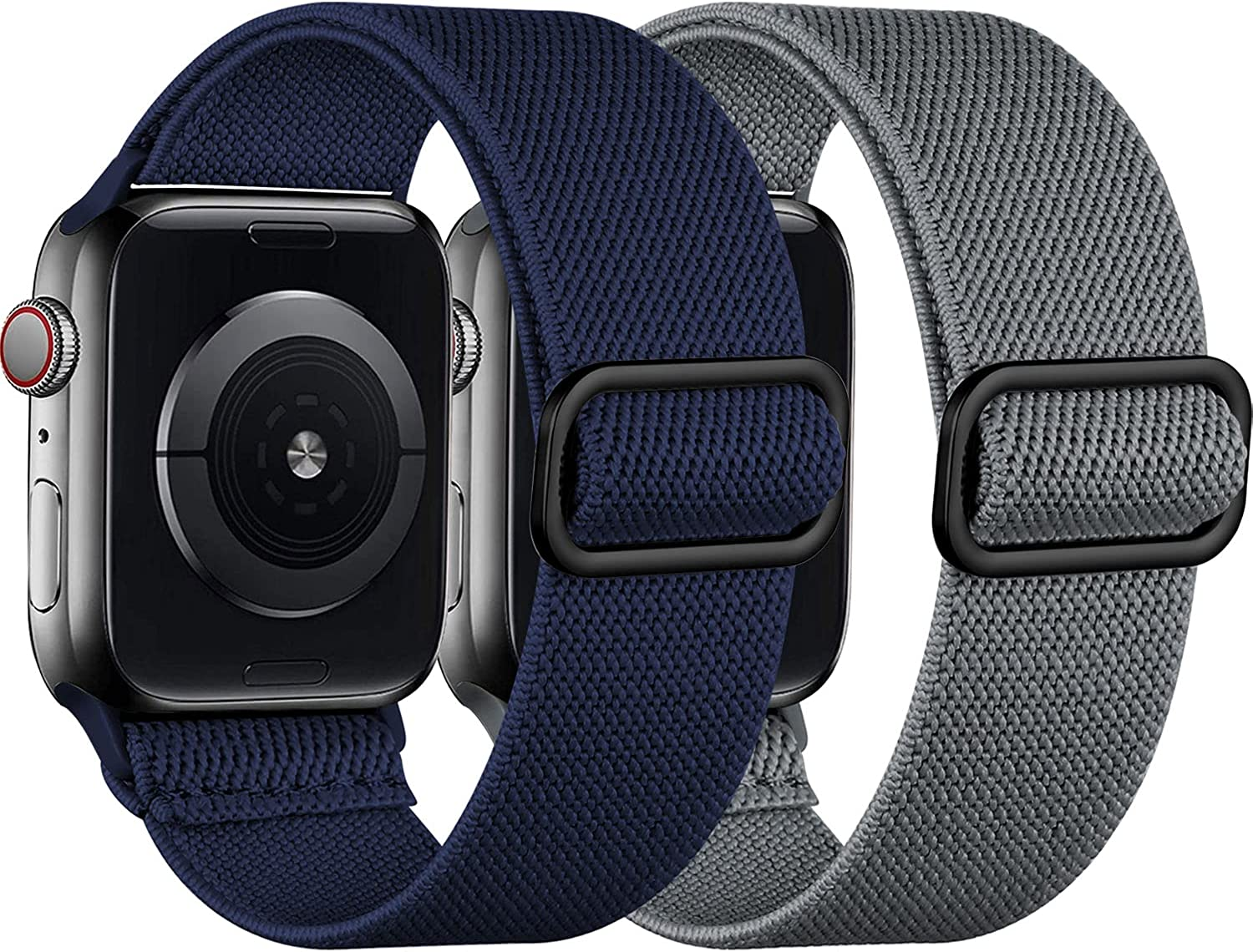 [2 Pack] SNBLK Compatible with Apple Watch Bands 44mm 42mm 40mm 38mm, Adjustable Stretchy Elastic Solo Loop Sport Nylon Strap Compatible for iWatch Series 6 5 4 3 2 1 SE