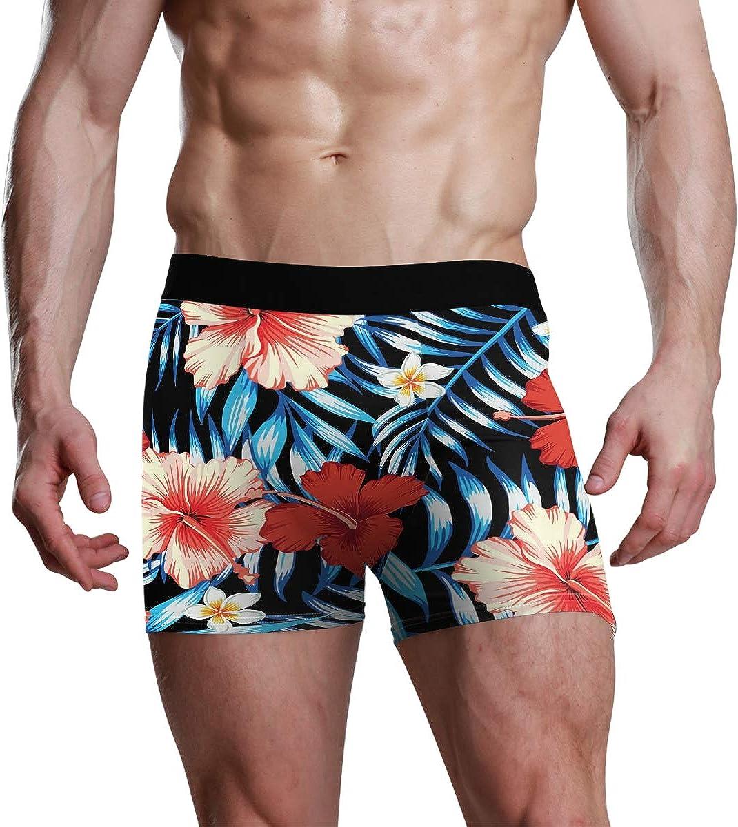 Men's Boxer Briefs Hawaii Tropical Natural Floral Seamless Pattern Bikini Underwear Stretch Trunks Boys Underpants