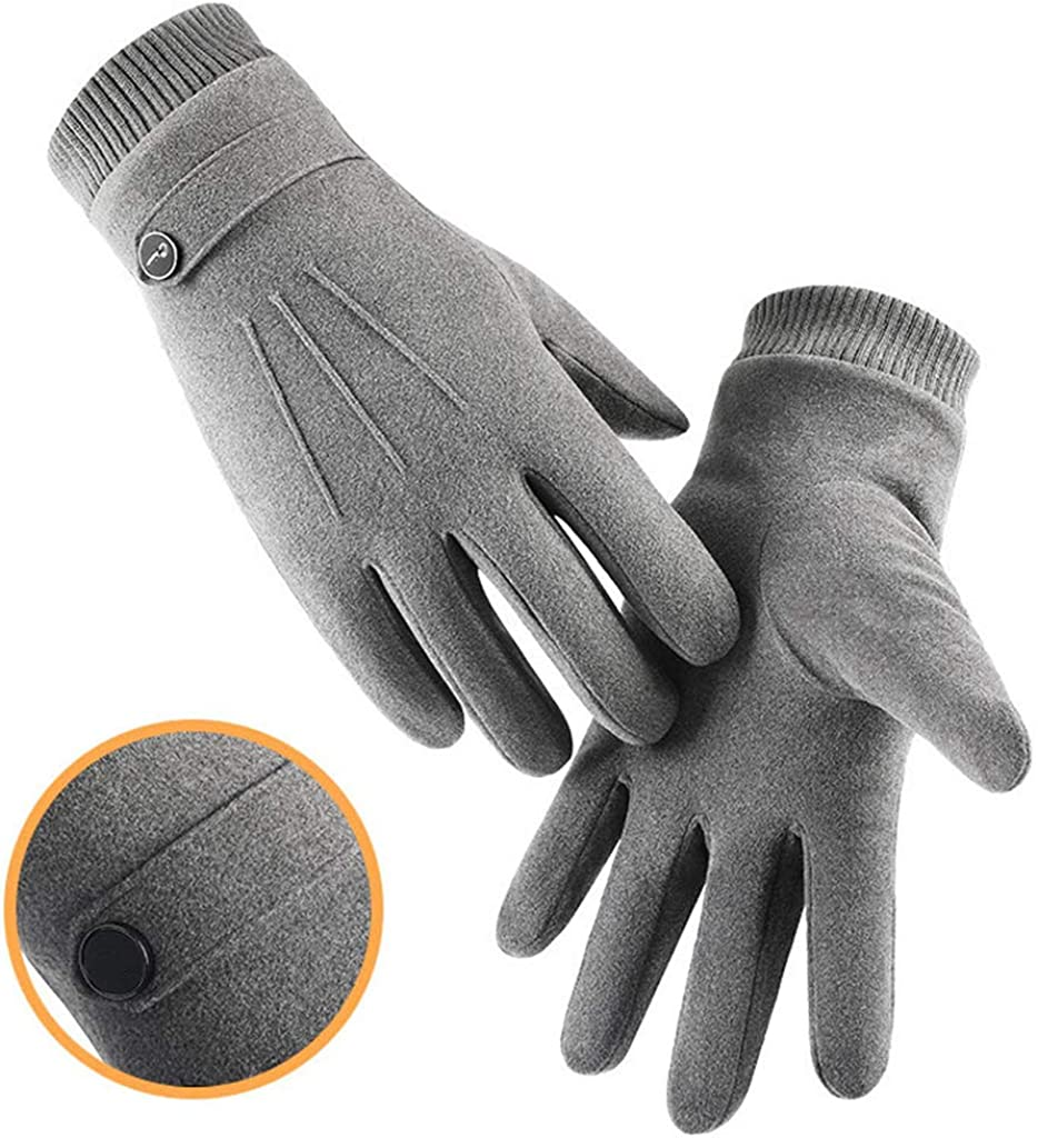 Winter Gloves for Men Touchscreen Warm Thermal Faux Suede Gloves Soft Plush Lining Knit Stretchy Cuff Mittens