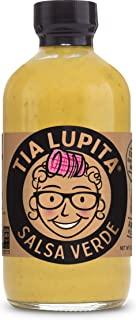 Tia Lupita Salsa Verde Hot Sauce – 8oz Bottle – Made with Tomatillos, Green Jalapeno Peppers, Flavorful Heat, Mild to Medium Spice, All Natural, Non GMO, Gluten Free, No Sugar, Low Sodium