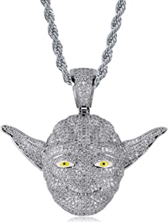 MoCa Master Yoda Pendant Necklace Men Iced Out CZ Chain Hip Hop Punk 18K Gold Silver Charm Necklace Jewelry Party Gifts