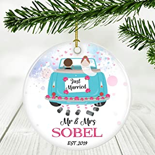 Mr & Mrs Ornament 2019 1st Christmas Married Gift Newlyweds - Ornament Just Married Mr And Mrs Sobel EST.2019 - Gift Ideas For 1st Mr & Mrs Couple Married Wedding Decoration 3