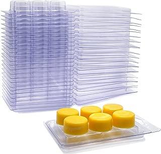 DGQ Wax Melt Molds Round - 100 Pack Clear Wax Molds Plastic Wax Melt Clamshells