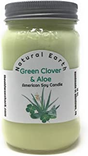 The Old Wax Shack Green Clover & Aloe - Soy Candle - 16 Oz. Mason Jar