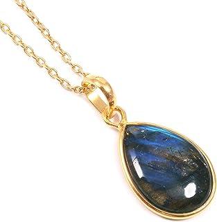 Ratnagarbha Blue Flash Labradorite Gold Necklace, Layered Gemstone Necklace, Gold Framed Stone, Layering Stone Pendant, La...