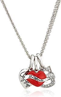 جس عقد مع طقم قلادات على شكل قلب للنساء ، فضة ، احمر - UBS91010