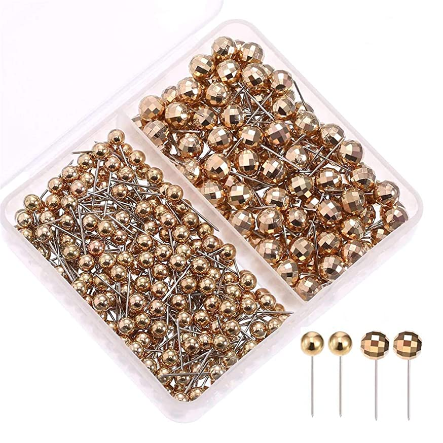 300-Count,1/8 and 1/4 Inch Metallic Map Tacks, Football face Push Pins, Plastic Round Head, Steel Point,Gold Colors