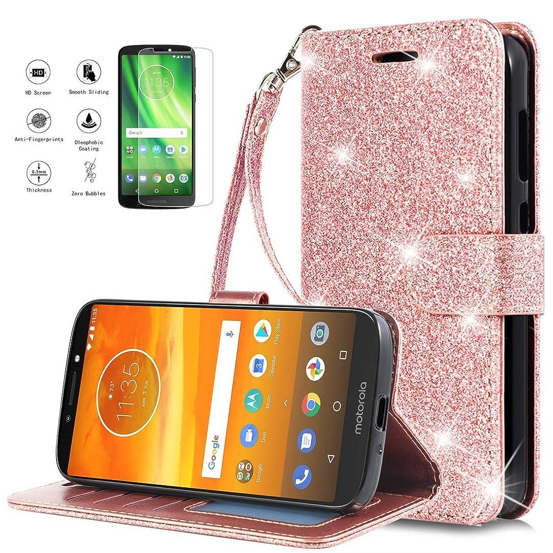 Jemo for Moto E5 Plus/Moto E5 Supra Case Wallet Bling Glitter Phone Case with Screen Protector Wrist Strap for Women Girls,Rose-Gold