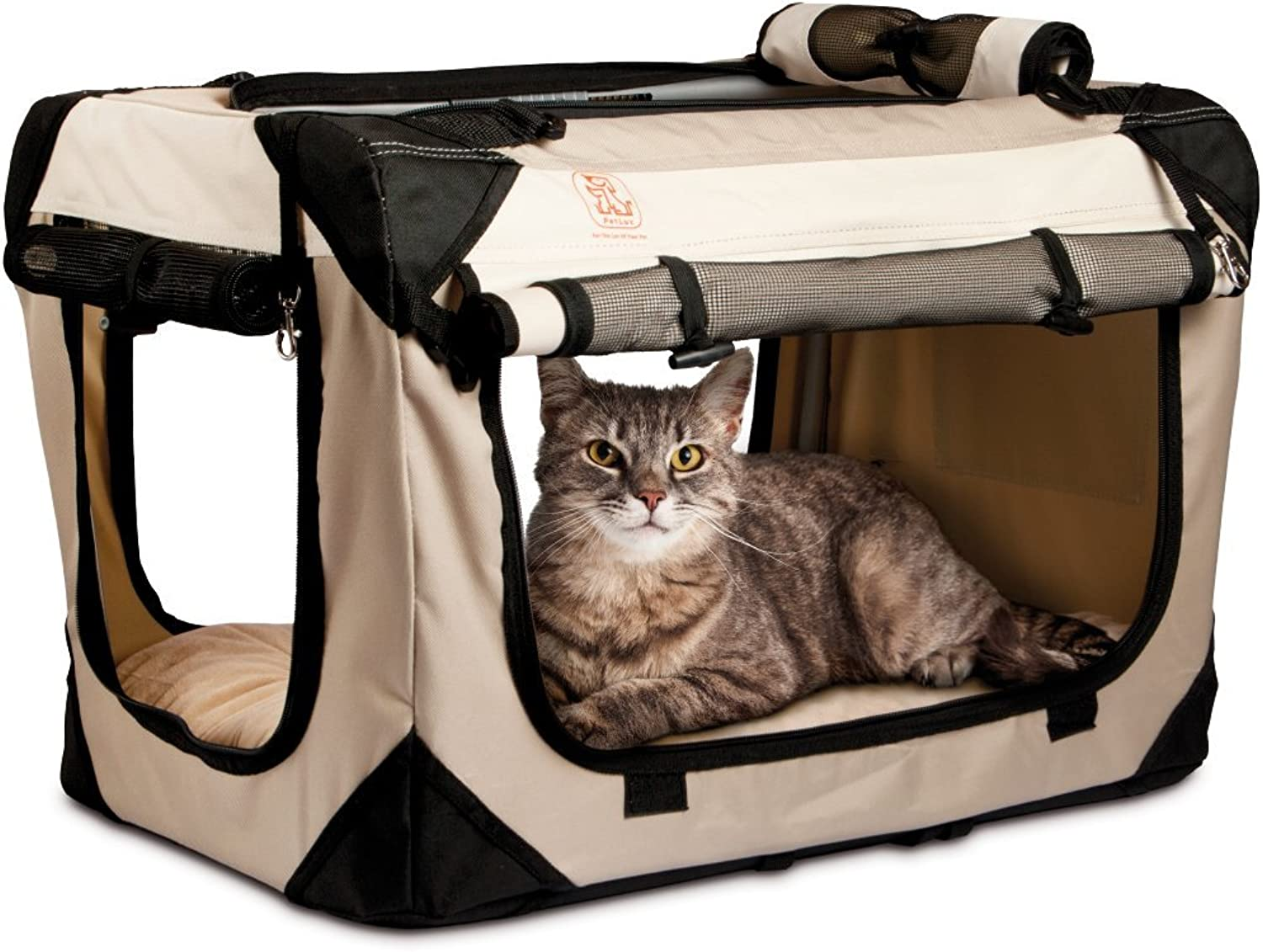 PetLuv Soothing  Happy Cat  Medium  Large Premium Soft Sided Cat Carrier & Travel Crate w  Locking Zippers Plush Nap Pillow 4X Interior Room 4 Windows Sunroof Folds Flat Washable Reduces Anxiety
