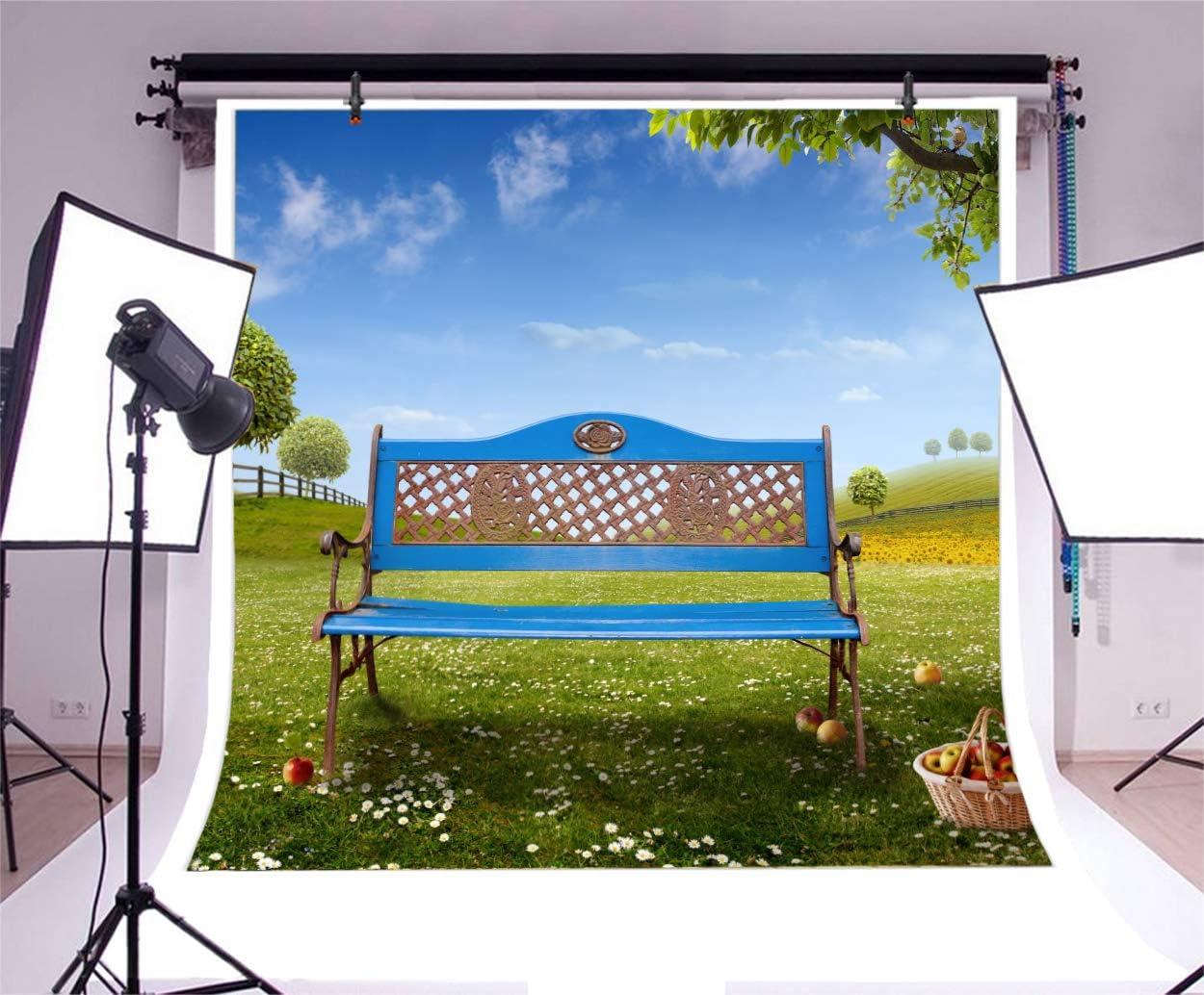 YongFoto 6.5x6.5ft Spring Grassland Backdrop Bench Tree Apple Basket Photography Background Blue Sky White Cloud Outdoor Idyllic Scenery Park Picnic Leisure Kids Adult Portrait Studio Props Wallpaper