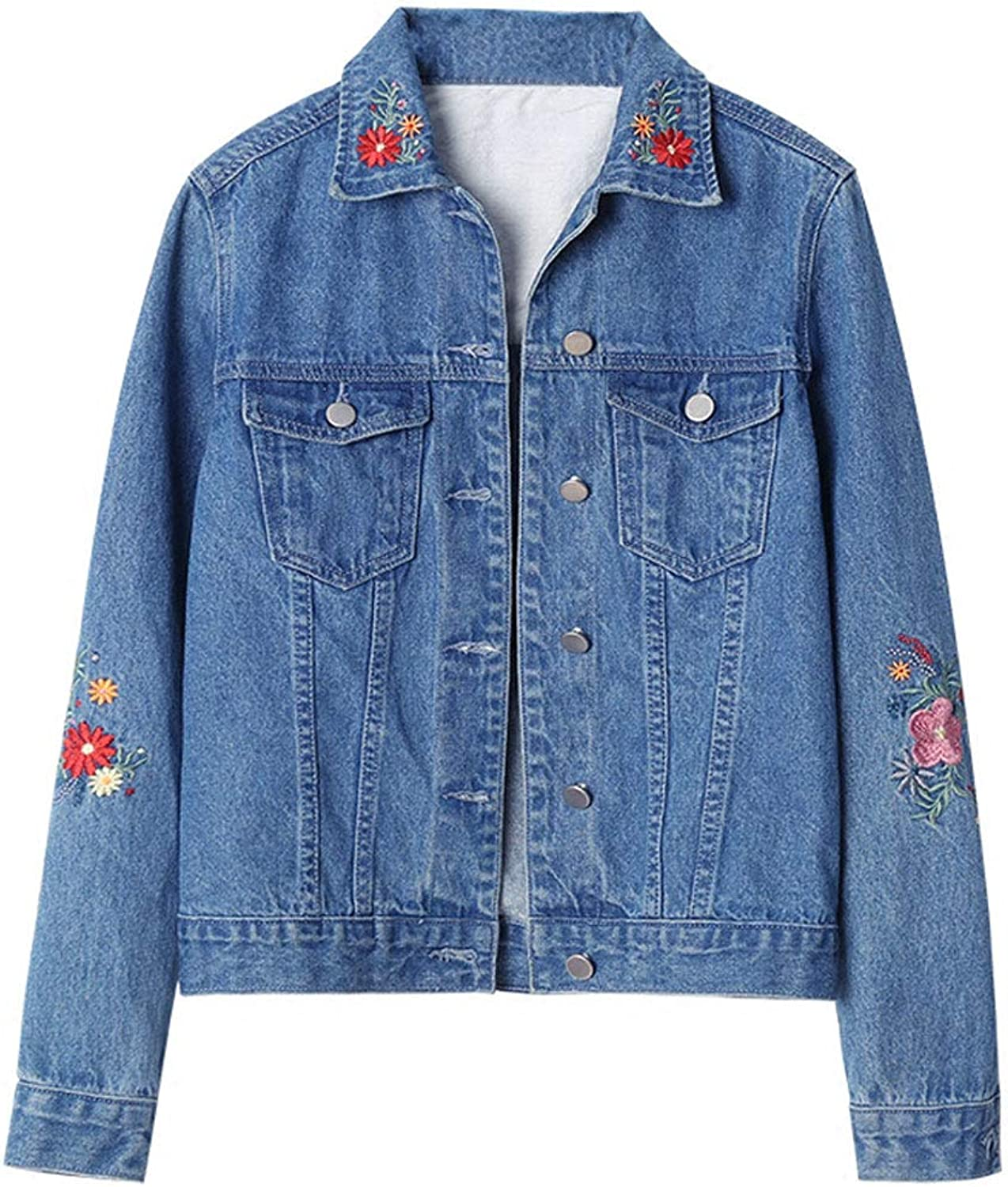 Women's Short Paragraph Denim Jacket Fashion Slim Embroidered Jean Jacket Coats Long Sleeve Casual Coat (color   bluee, Size   L)
