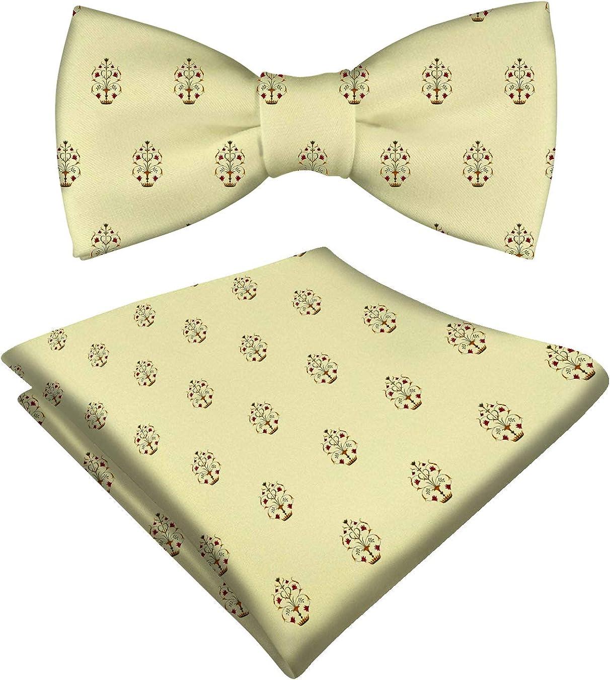 RADANYA Mens Pre-tied Bow Tie And Pocket Square Floral Printed Satin