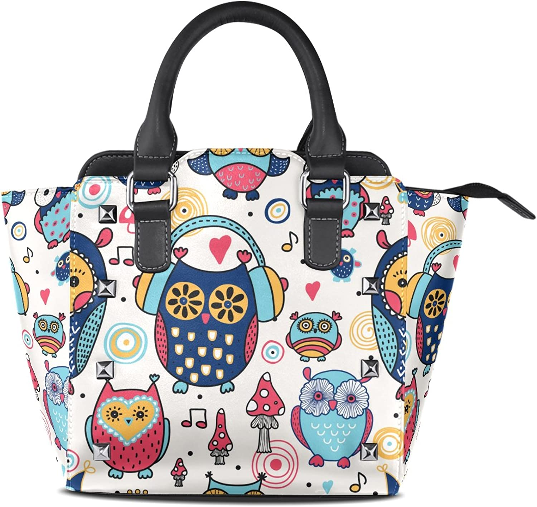 My Little Nest Women's Top Handle Satchel Handbag Cute Owls Ladies PU Leather Shoulder Bag Crossbody Bag