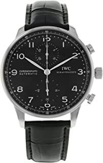 IWC Men's Stainless Steel Swiss Quartz Watch with Pig Skin Leather Strap, Black (Model: 3714-47)