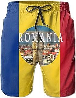 Bernice Winifred Bandera de Rumania Casual Hombres Bañadores de Secado rápido Pantalones Cortos de Playa Pantalones