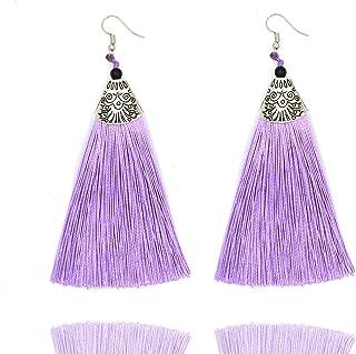 Aashya Mayro Bohemian Oxidized Silver Plating Long Soft Silk Thread Tassel Party Earring for Women Girls