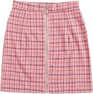 WDIRARA Women's Plaid O-Ring Zipper Front Above Knee Mini Skirt