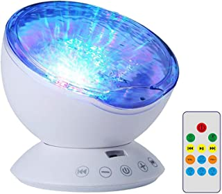 TOPBRY Ocean Wave Projector Night Light with Remote Control,12 LED Beads & 7 Colorful Light Modes, Built-in Mini Music Pla...